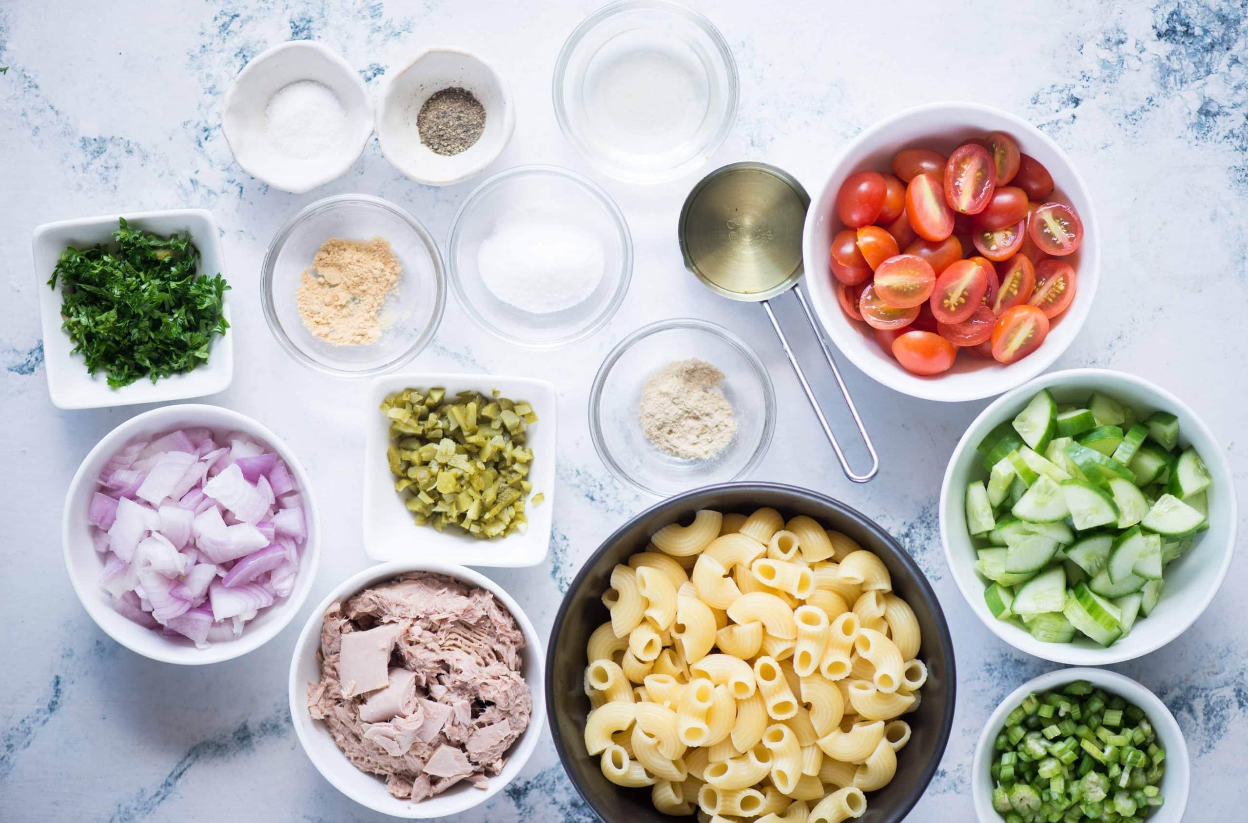 Ingredients for Tuna Pasta Salad