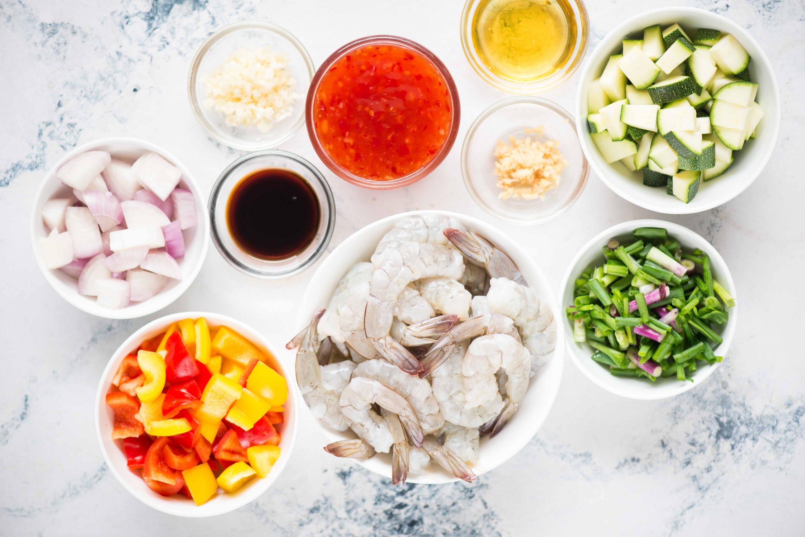 Ingredients for Vegetable Shrimp Stir Fry