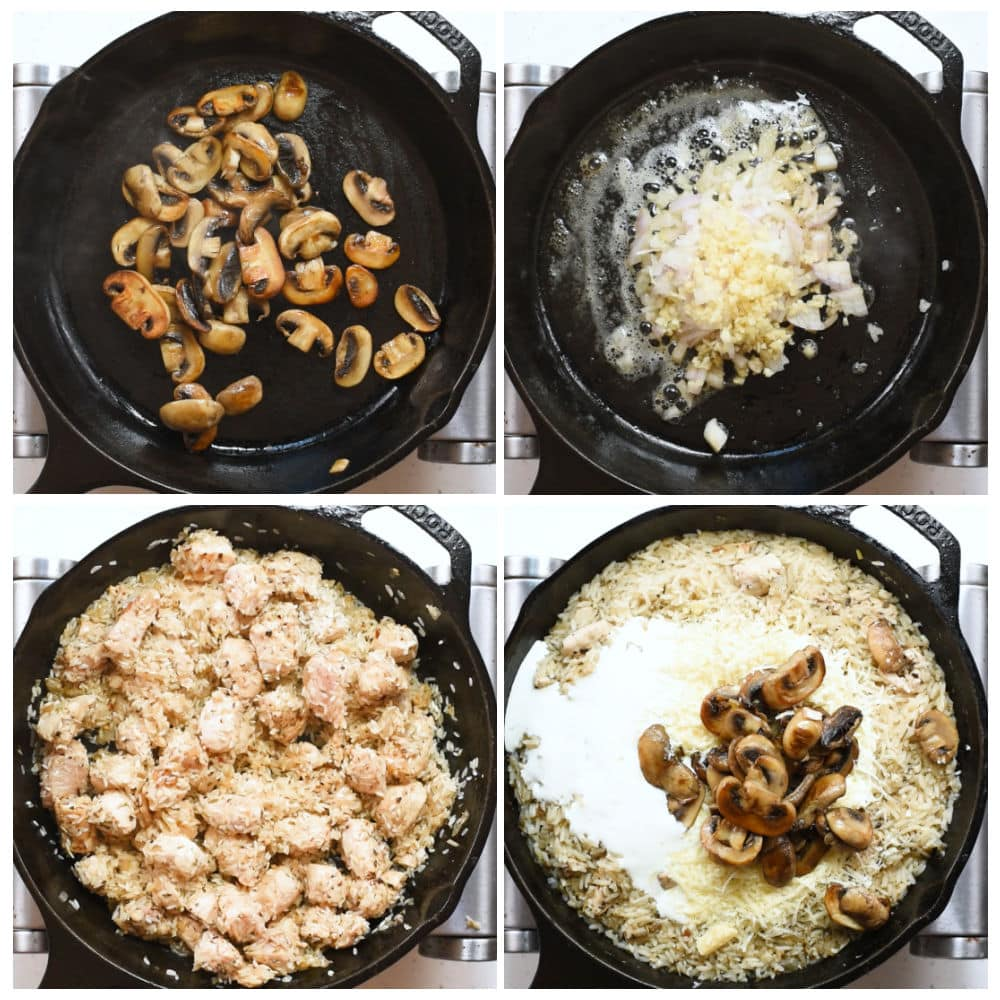 Steps to make chicken and rice with mushroom. It is creamy and delicious.