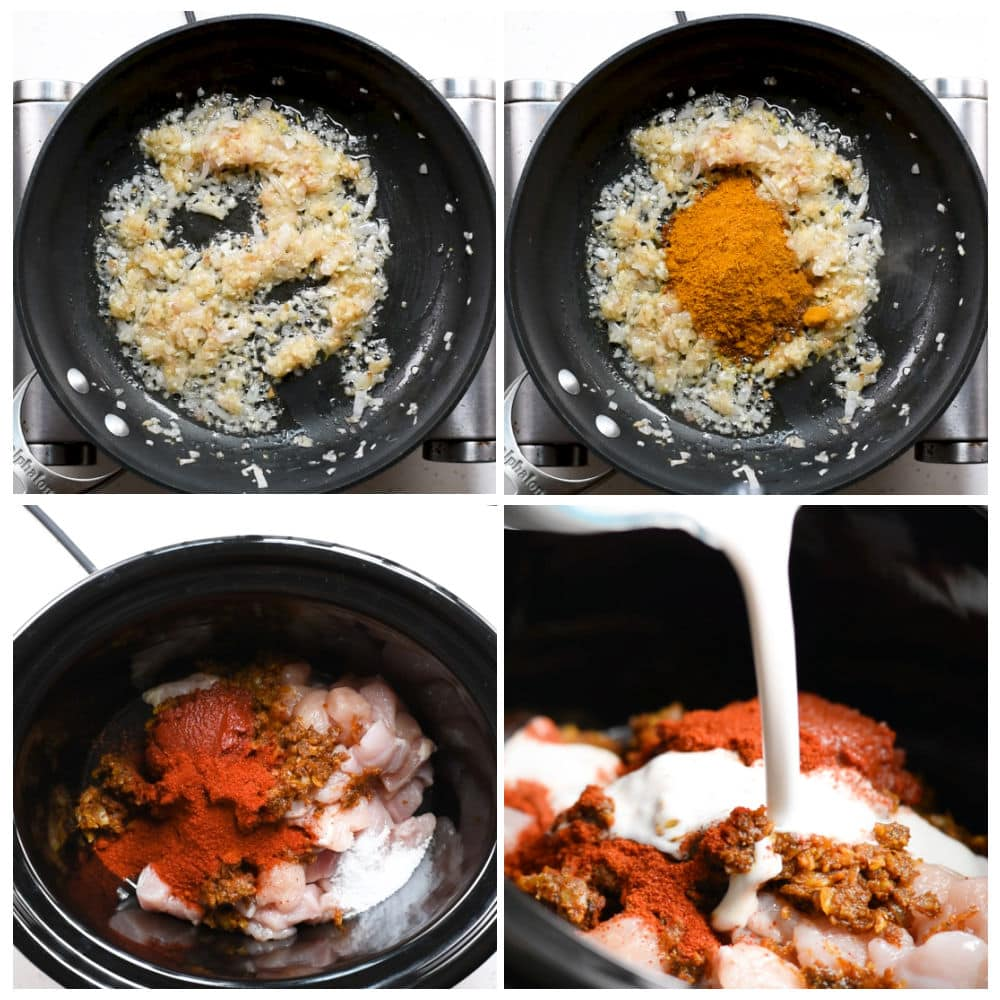 steps to make coconut curry chicken in a slow cooker.