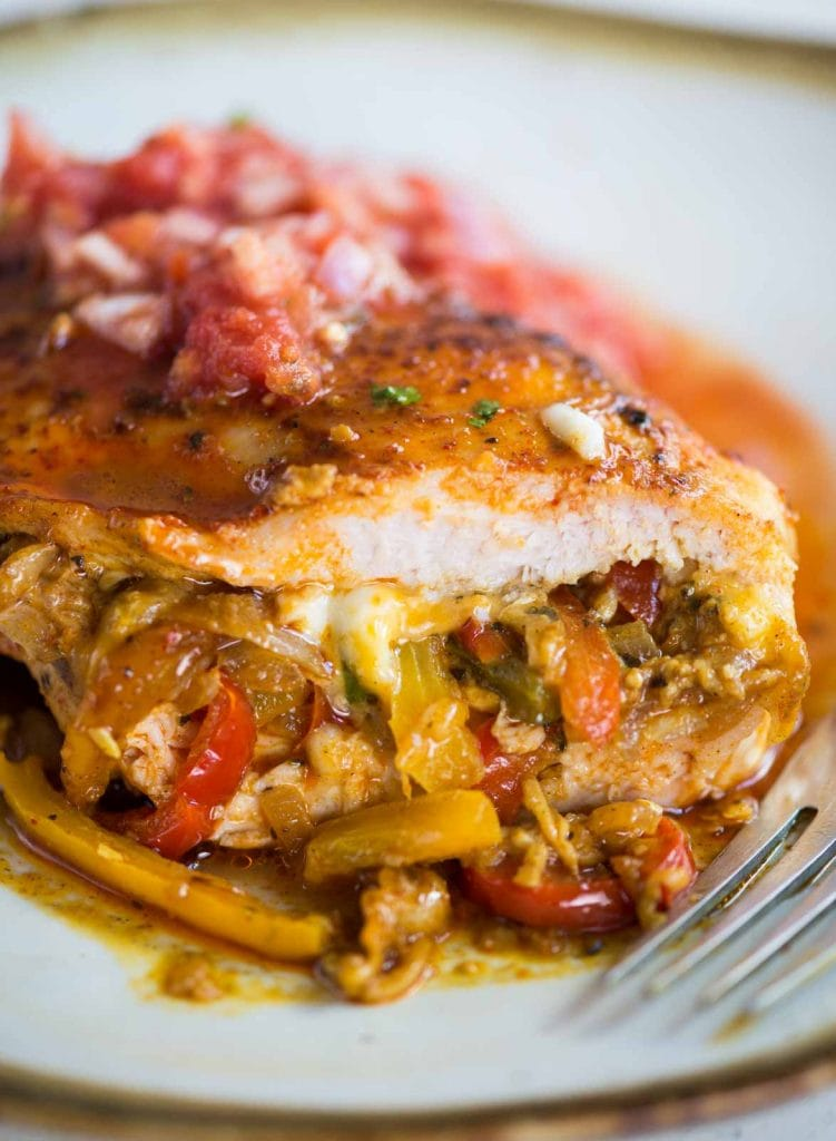 Peppers, onion, cheese stuffed chicken breast.