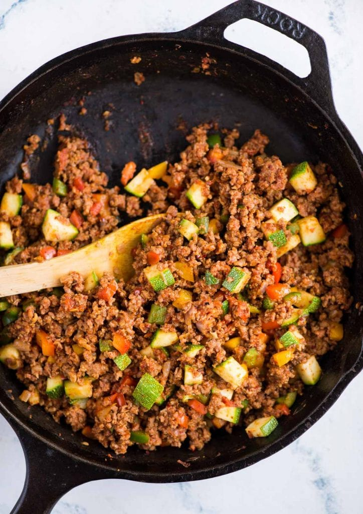 Ground beef, vegetables and Mexican spices tossed in a skillet is a healthy ground beef recipe that is easy to throw together.