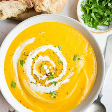 Creamy and velvety smooth Instant pot Pumpkin Sweet Potato Soup is another fall favorite soup at home. Flavored with curry powder and turmeric, this soup is really comforting on chilled days.