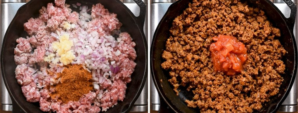 step 1 to make Keto ground beef skillet . brown meat