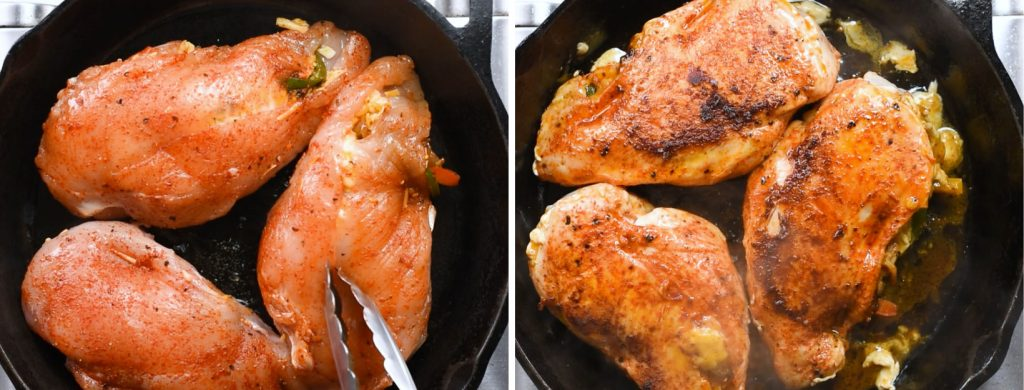 How long to cook stuffed Chicken breast. Sear and bake the chicken breast for 20-25 minutes.