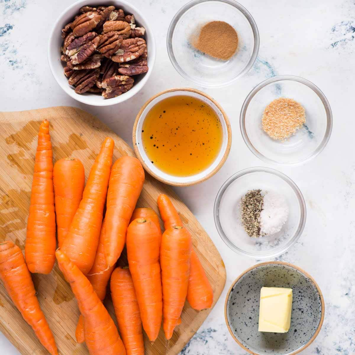 Carrot tossed in a honey cinnamon Pecan has a hint of garlic.