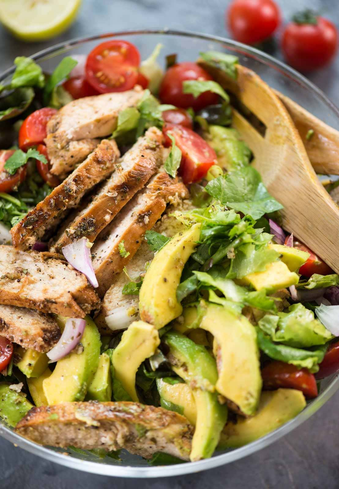 Healthy and filling Grilled Chicken salad with avocado.
