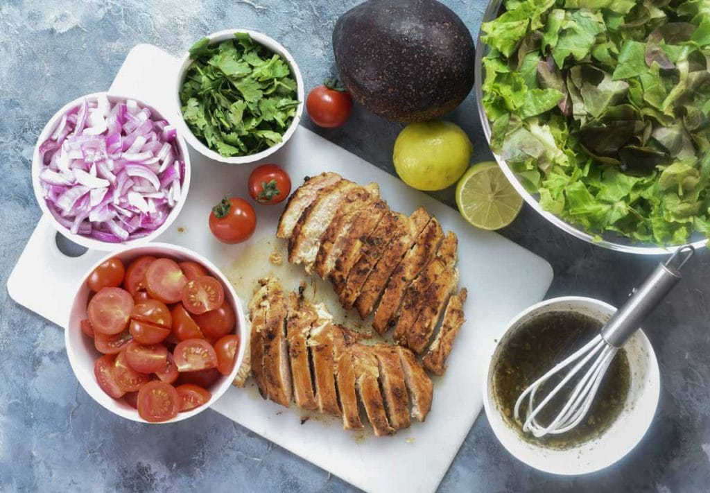 ingredients for Chicken Salad with avocado.