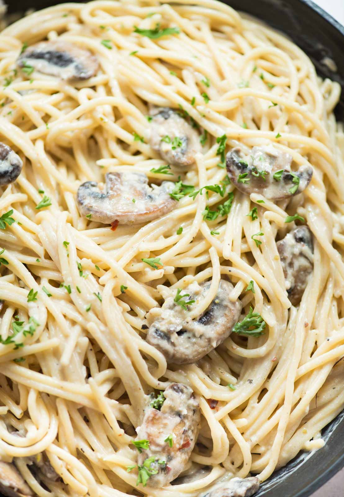 Mushroom Pasta in a creamy parmesan based sauce and caramelized mushroom just the right fit to satisfy the pasta craving.