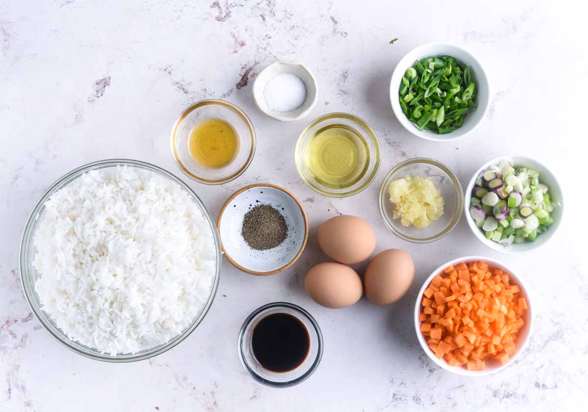 What you need to make restaurant style egg fried rice.