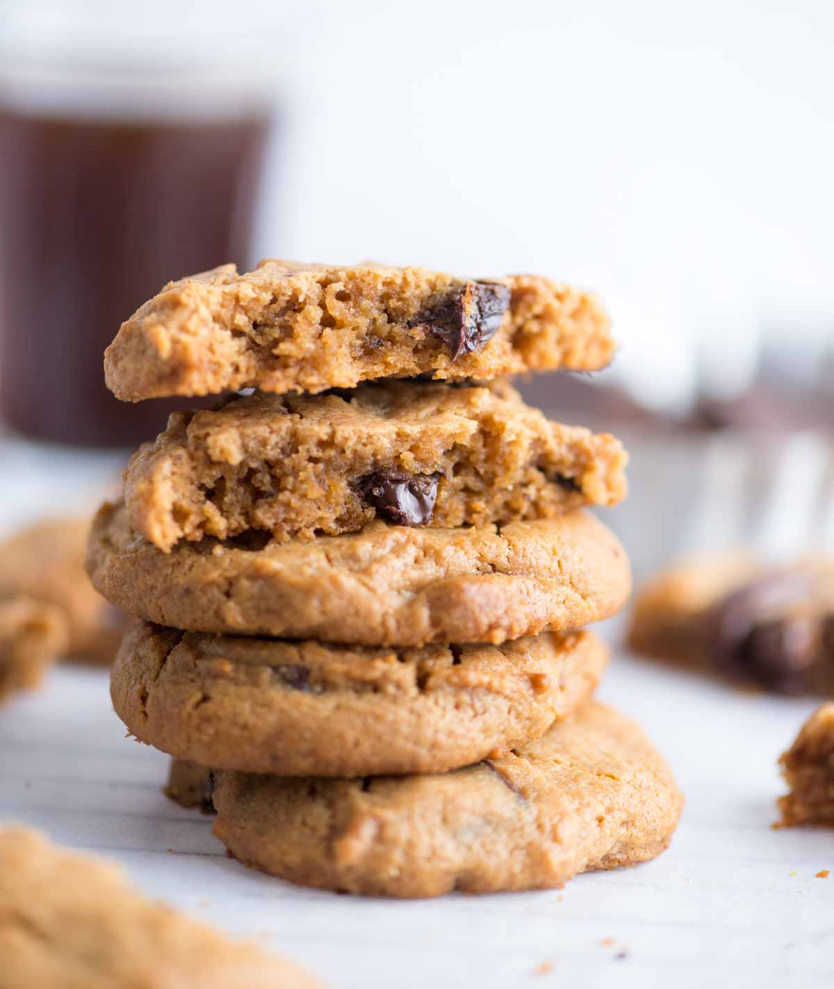 These flourless Peanut butter cookies are soft, chewy are easy to make. No flour, no dairy, also gluten-free, these cookies are packed with Peanut butter flavor.