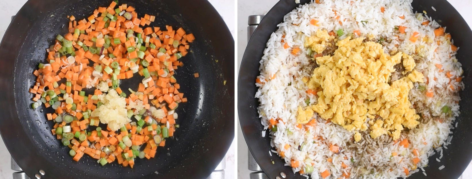 toss onion, garlic, veggies, rice, egg and sauces in a wok is the second step to make the fried rice.
