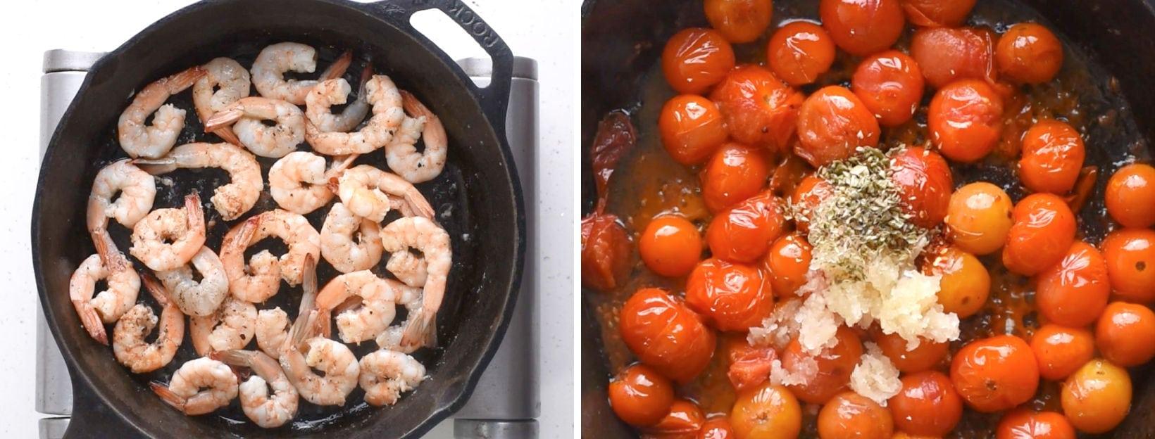Cook shrimp  and make the cherry tomato Sauce