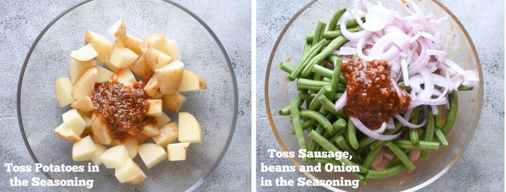 Toss the veggies in the prepared seasoning.