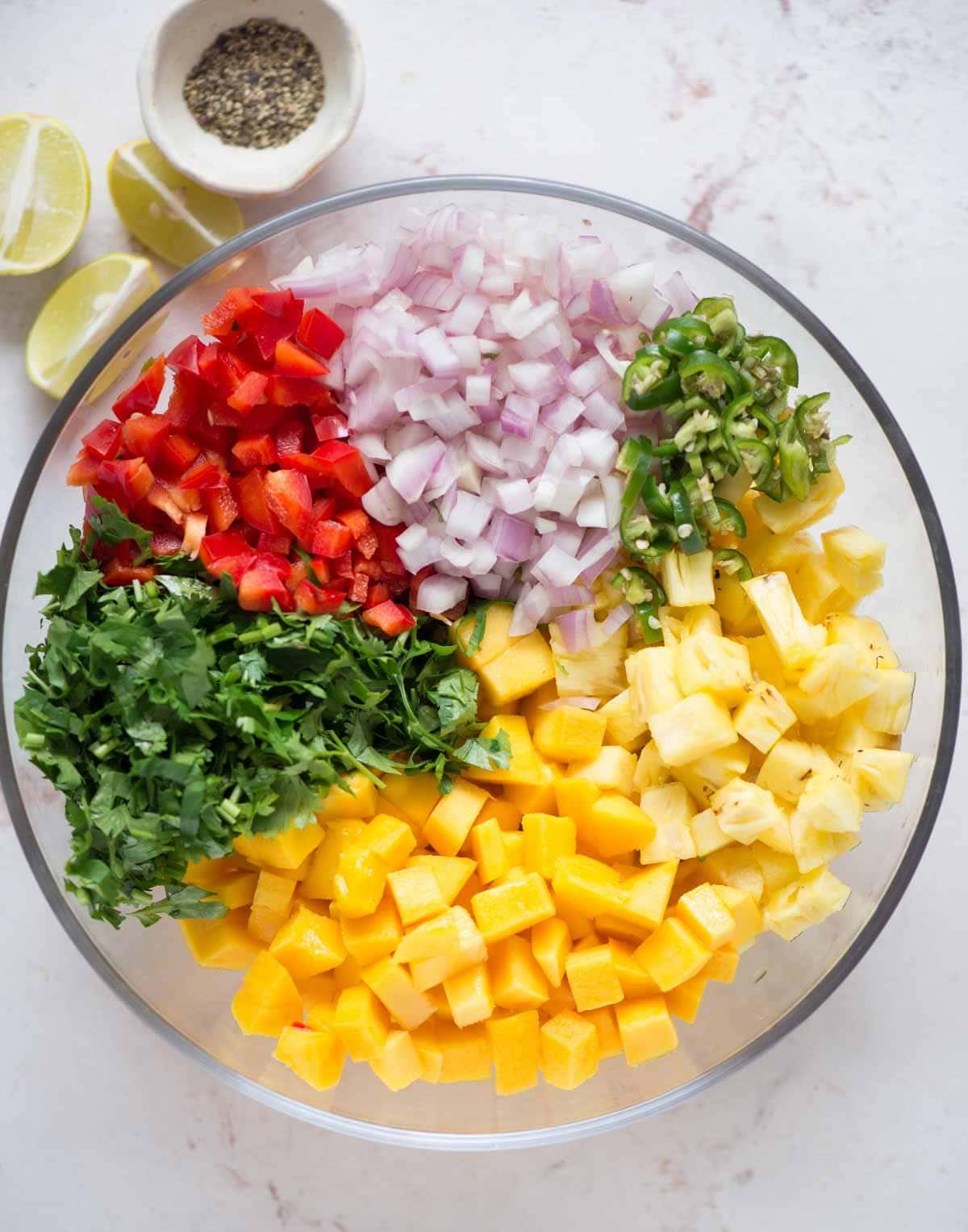 Assembling Pineapple Mango Salsa