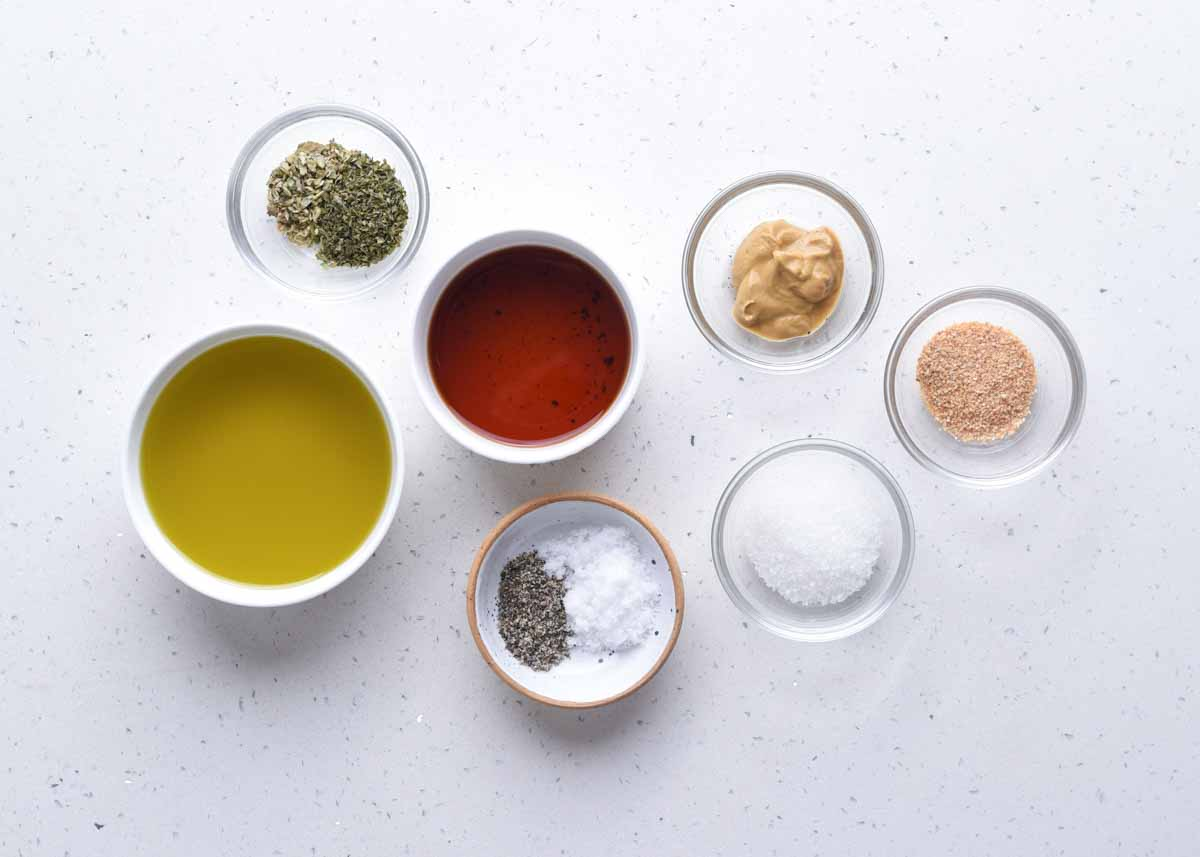 Ingredients required to make a flavourful and zesty red wine vinaigrette