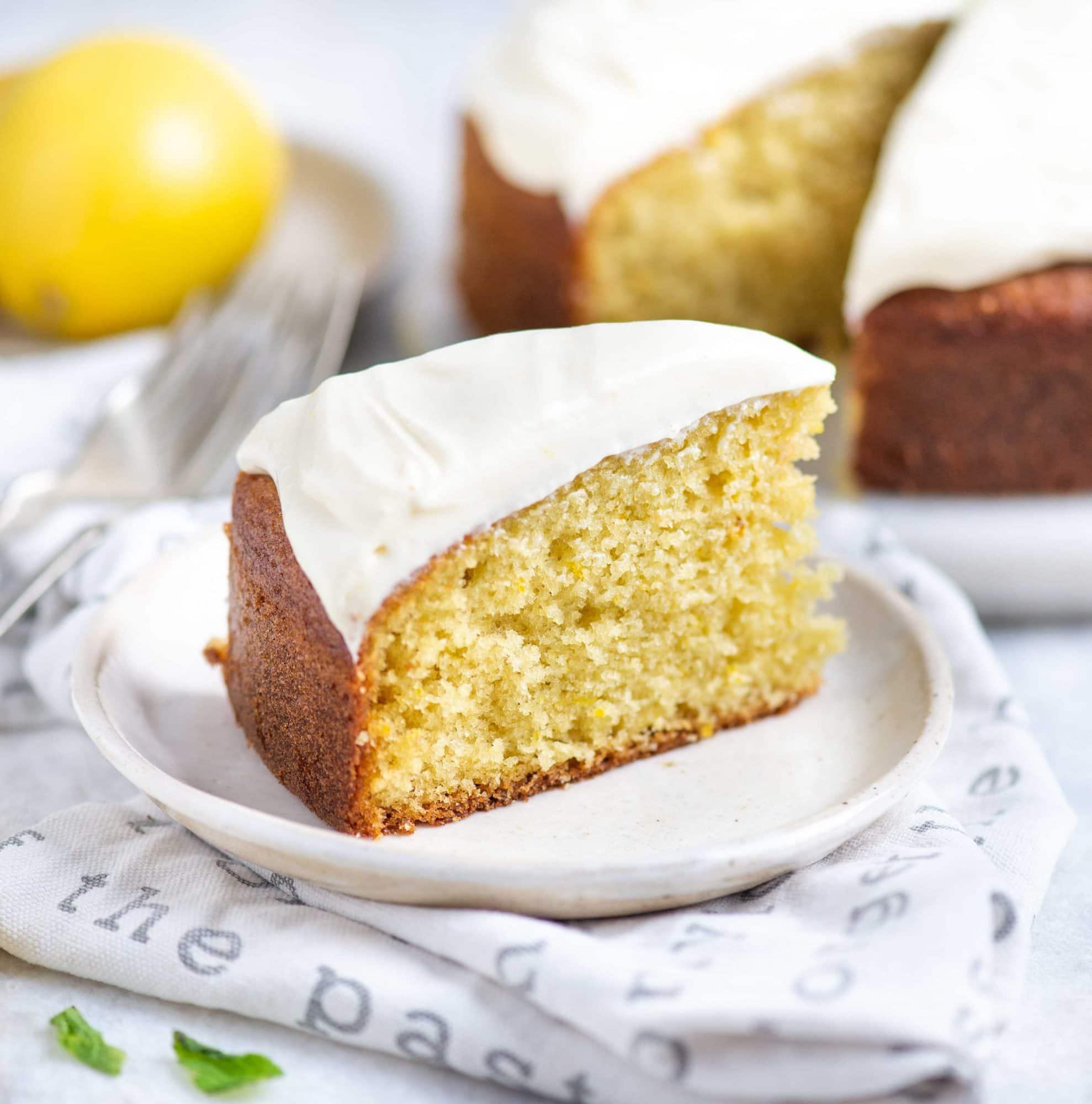 Soft fluffy and moist lemon cake with lemon cream cheese frosting