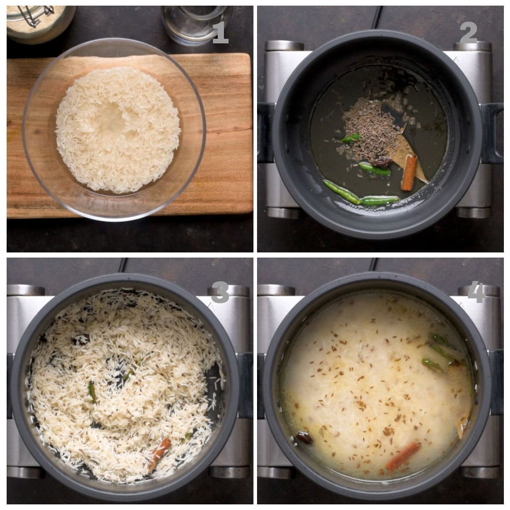 Step by step Instruction to make Jeera rice in a dutch oven shown in a collage of images for each step.