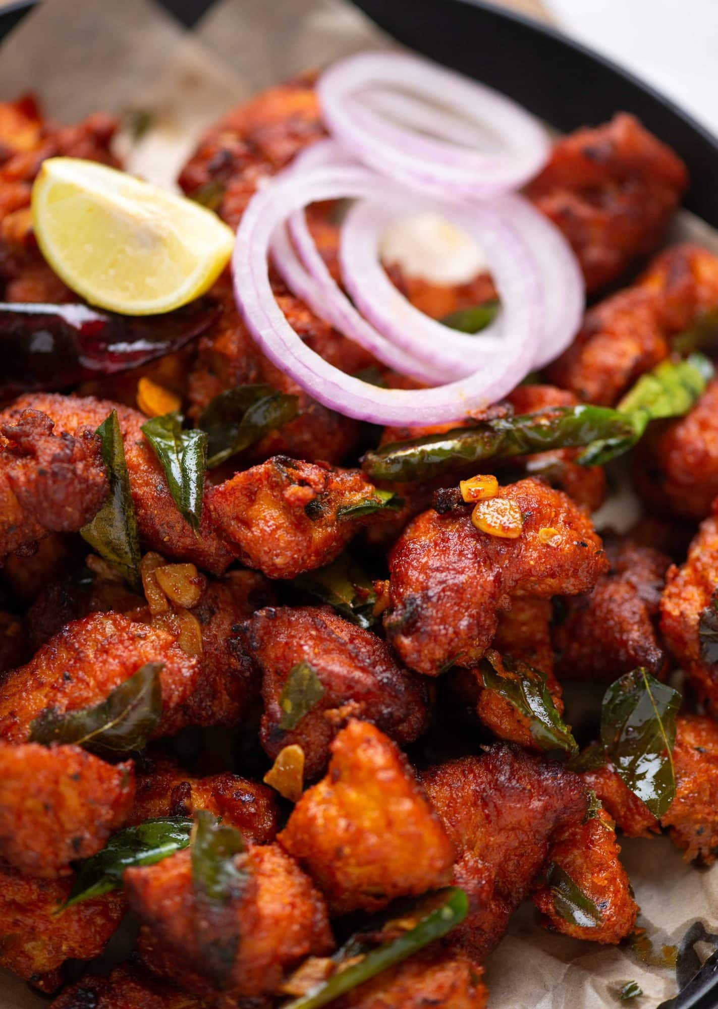 Close-up picture of Chicken 65 - a spicy chicken indian appetizer