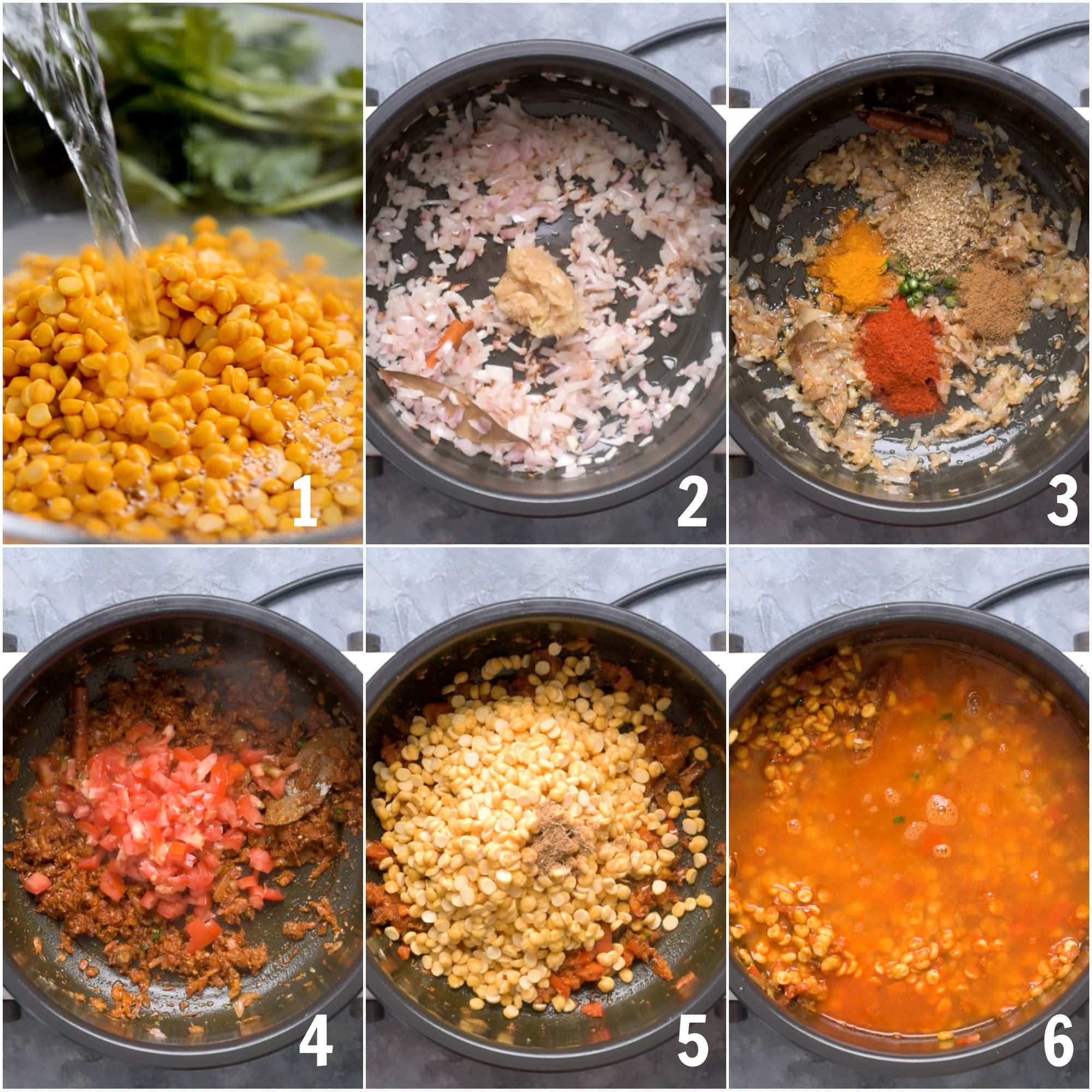 Collage of step-by-step images on how to make chana dal.