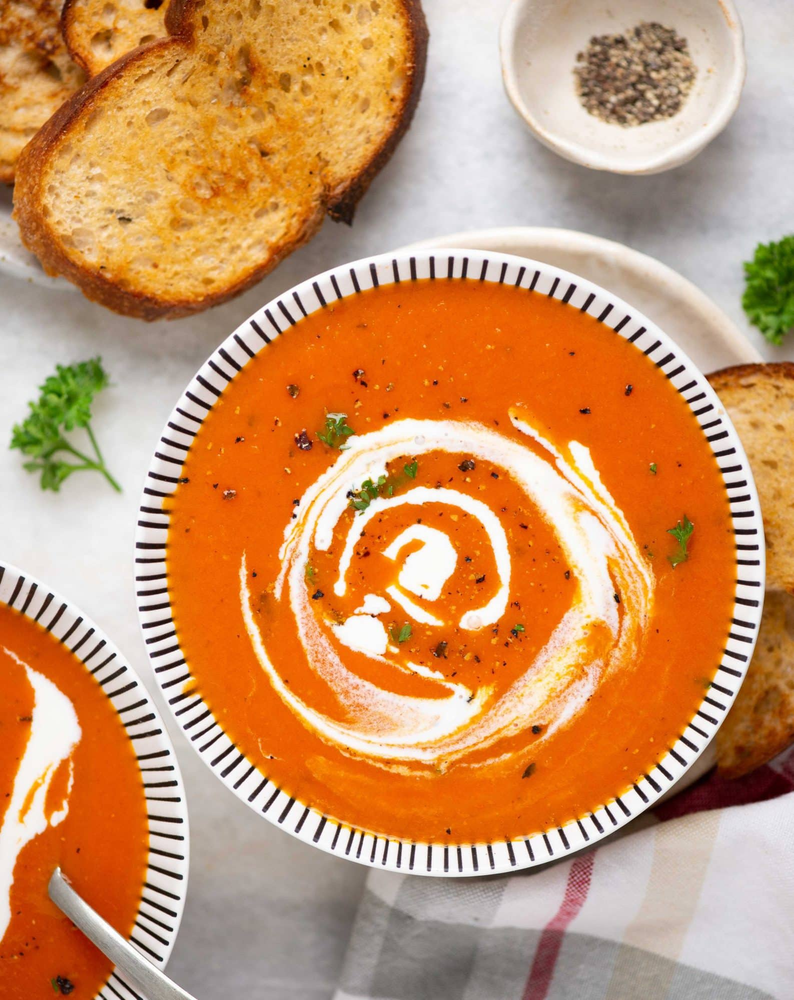 Classic tomato soup is with fresh flavours, it is tangy with a hint of sweetness. You can make this soup using fresh or canned tomatoes and a handful of ingredients.